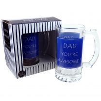 Dad You're Awesome! Glass Beer Tankard by The Leonardo Collection Gift Boxed