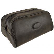 Mens Faux Leather Washbag by Danielle Travel Toiletries Handy Classic Brown