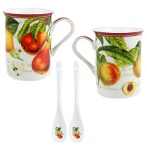 Fine China Fruit Garden MUG/CUP & Spoons Set by The Leonardo Collection Gift Box Mothers Day