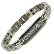 Ladies Titanium Magnetic Bracelet with Silver IPG Finish Crystals Design Stylish Magnets Health Therapy