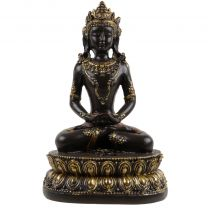 18 cm Thai Buddha in Rich Brown & Gold Meditating on Lotus Pad