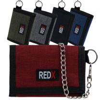 RED X Mens Boys Canvas Tri-Fold Chain Sports Wallet