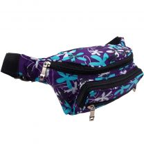Red-X Purple Floral Nylon Bumbag Fanny Pack Travel Holiday Security