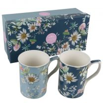 Gift Box Set of 2 China Mugs from the Daisy Meadow Design by The Leonardo Collection