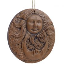 Pickled Moon Terracotta Sun and Moon Pagan Wall Plaque Garden Summer Gift