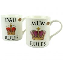 Fine China MUM/DAD RULES MUG CUP by Leonardo Gift Boxed Mothers/Fathers Day
