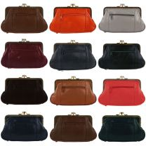 Soft Leather Ladies Clasp Purse Coin Purse Classic Change Handy Zipped Gift