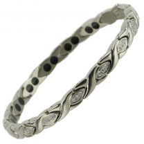 Ladies Titanium Magnetic Bracelet with Chrome Crystals Finish Stylish Magnets Health Therapy