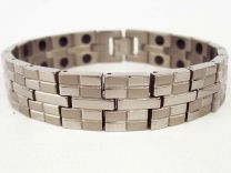 Mens Chrome Finish Titanium Magnetic Bracelet Health 36 Magnets Therapy Gift Boxed