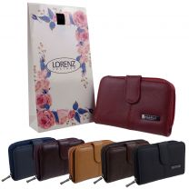 Lorenz Leather Ladies Purse/Wallet Zip Around with Free Gift Bag