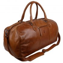 Hansson Leather Large Classic Holdall Travel Overnight Bag Cognac