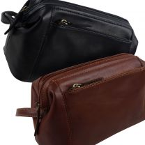 Oakridge Leather Mens Medium Top Frame Washbag/Toiletry Bag