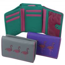 Ladies Leather Tri-Fold Purse/Wallet  with Flamingoes by Mala - Freya Collection RFID