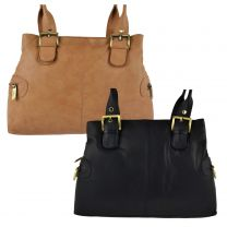 Ladies Soft Leather Compact Handbag by GiGi Othello Collection Classic Womens