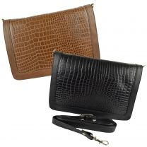 Ladies Embossed Leather Clutch/Cross Body Bag by GiGi Othello Collection Classic Croc