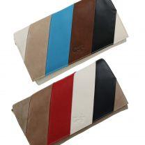 Ladies Soft Leather Flap Over Clutch BAG by GiGi Classic Stripes Handbag