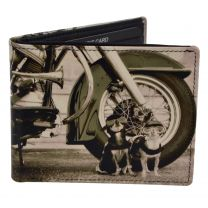 Mens Leather Bi-Fold Wallet by Retro Sepia Dog Harley Motor Bike Gift Box