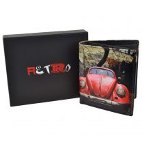 Mens LEATHER Tri-Fold Vintage Red Beetle Wallet by Retro Gift Box