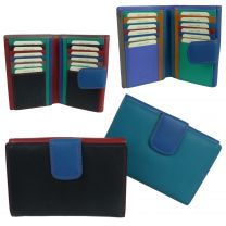 Ladies Leather Flap Over Multi-Section Purse/Wallet by Golunski Colourful