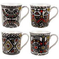 Gift Box Set of 4 China Mugs/Cups Tribal Design by The Leonardo Collection