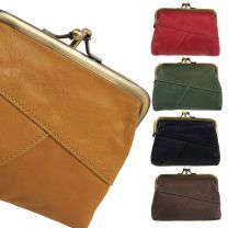 Primehide Leather Ladies Double Clip Coin Purse in Soft Crumble Collection Change
