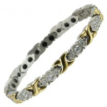 Ladies Titanium Magnetic Bracelet with Gold & Chrome Crystals Finish Stylish Magnets Health Therapy