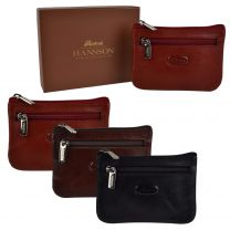 Mens Top Quality Small Leather Coin Purse Pouch/Wallet by Hansson Key Ring