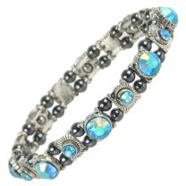 Ladies Magnetic Hematite Aqua Blue Faux Crystals Bracelet Magnets Health Therapy