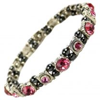 Ladies Magnetic Hematite Fuchsia Pink Faux Crystals Bracelet Magnets Health Therapy