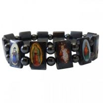 Magnetic Hematite Religous Saints Icon Bracelet Magnet Healing Elasticated Health