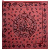 Buddha Red Wall Hanging Scarf 100% Cotton Meditation Sanskrit Dharma