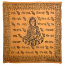 Large Buddha Saffron Wall Hanging Scarf 100% Cotton Hindi Meditation OM AUM