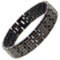 Mens Jet Black Finish Titanium Magnetic Bracelet Brick Design Health Magnets Therapy