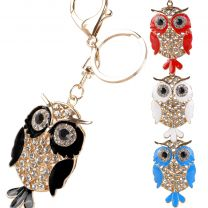 Gold & Crystal Bag Charm/Keyring Owl Cute Silver Clear Faux Gems Bling 4 Colours