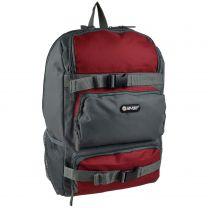 Mens Boys Handy Backpack Rucksack Bag by Hi-Tec School College Work Travel (Dark Grey/Rio Red)