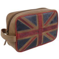 Mala Leather Mens Union Jack Washbag Distressed Vintage Look