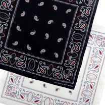 New Bandana Bandanna Scarf With A Paisley Themed Pattern Black White Festival Bikers Party