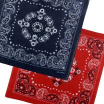 Bandana Bandanna Scarf With A Paisley Themed Pattern Red Navy Festival Bikers Party
