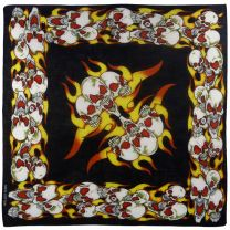 Mens Boys Flames Fire Evil Skulls Black Blk Bandana Bandanna Bikers Urban Green
