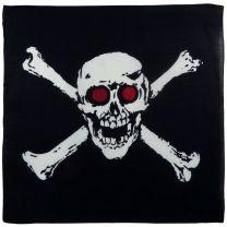 Mens Boys Skull & Crossbone Red Eyes Black Bandana Pirates Jolly Roger