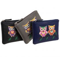 Ladies Small Leather Coin Purse/Wallet by Mala; Kyoto Collection Cute Applique OWLS