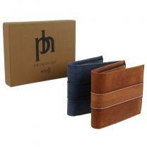 Prime Hide Leather Men's Trifold Coin & Card Wallet RFID Blocking