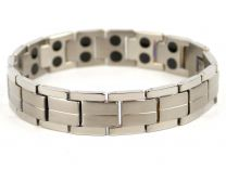 Mens Chrome & Brushed Steel Finish Titanium Magnetic Bracelet Health Magnet Therapy