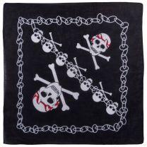 Mens Bikers Black Bandana Bandanna Skulls & Crossbones Chain Jolly Roger