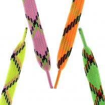 1 Pair Skater TARTAN NEON WIDE Shoe Laces Trainers Sneakers Tennis Shoes Emo