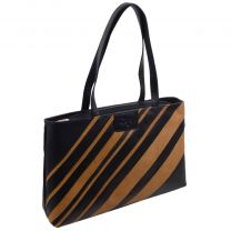 Ladies Black/Honey Soft Leather Shoulder Handbag Lauretta Collection by GiGi