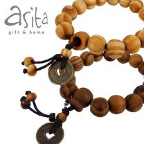 Asita Oiled Wooden Beads Bracelet with Chinese Goodluck Coin
