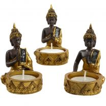 Set Of 3 Thai Buddha Nightlght Holders Meditation Prayer Hands Touching Earth