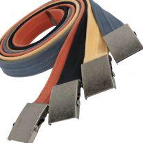 Mens Various Colours 40mm Washed Cotton Web Belt Fashion Trim to Fit