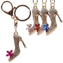 Gold & Crystal Bag Charm/Keyring High Heal Faux Gems 4 Colours Bling
